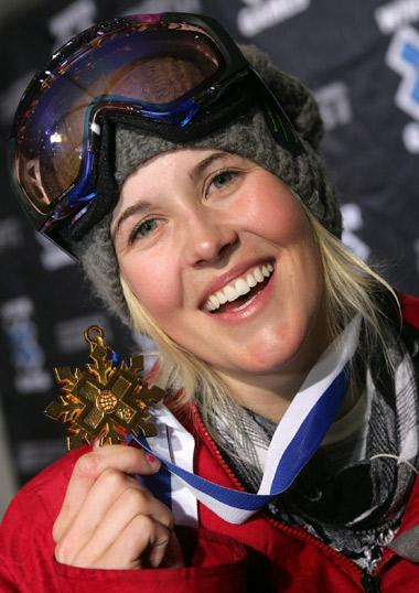 Sarah Burke with one of her X Games medals