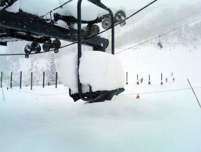Steamboat chairlift under record snow